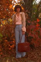 vintage jeans - vintage bag - thrifted blouse - thrifted cardigan
