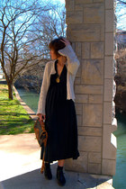 black dress - Dooney and Bourke bag - beige cardigan