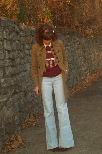 brown Charlotte Russe coat - vintage jeans - crimson vintage sweatshirt