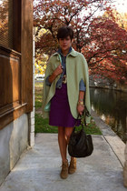 lime green vintage cape - light brown H by Hudson boots - purple Gap dress