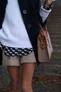 Tan-shorts-green-kate-kanzier-shoes-black-jacket-white-sweater