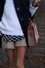Tan-shorts-green-kate-kanzier-shoes-black-jacket-white-sweater