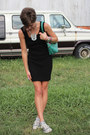 Black-dress-turquoise-blue-dooney-bourke-bag