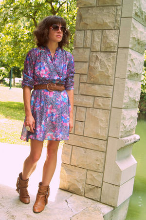 vintage dress - Steve Madden boots