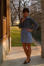 Heather-gray-sweater-light-blue-dress-light-brown-jacket