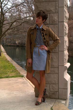 heather gray sweater - light blue dress - light brown jacket