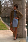 Light-blue-dress-light-brown-jacket-heather-gray-sweater