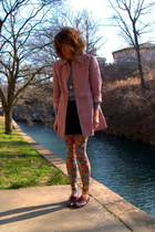 maroon vintage shoes - black worn as skirt vintage dress - pink vintage jacket -