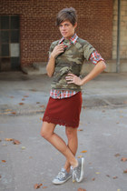 plaid blouse - army green camo t-shirt - burnt orange vintage skirt