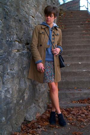 floral MNG skirt - black Call it Spring boots - dark khaki coat