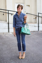 teal Dooney & Bourke bag - calvin klein jeans - chambray shirt