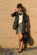 neutral leopard skirt - army green jacket - ivory vintage sweater