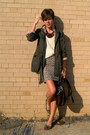 Army-green-jacket-ivory-vintage-sweater-dark-brown-frye-bag