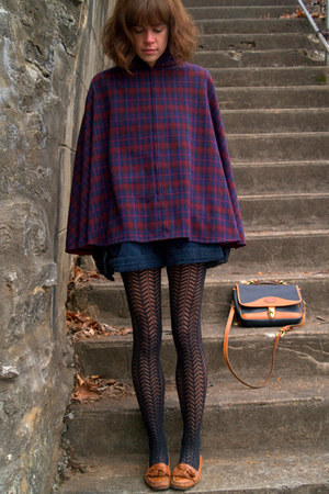 black vintage shorts - plaid vintage cape - brown Cole Haan loafers