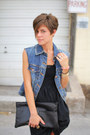 Blue-jacket-black-gap-dress-black-bag