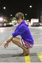 tan H by Hudson boots - hot pink skirt - blue sweatshirt