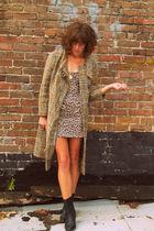 vintage coat - vintage dress - vintage boots