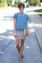 tan leopard print Bamboo loafers - gold vintage bag - beige leopard print skirt