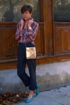 gold vintage bag - charcoal gray pants - turquoise blue vintage Nine West pumps