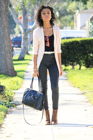 pale pink pearl cardigan - workman boots boots - briefcase bag