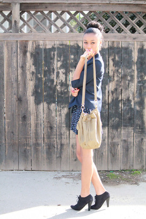 blue f21 skirt - blue moms vintage blazer - black Aldo shoes - beige Urban Outfi