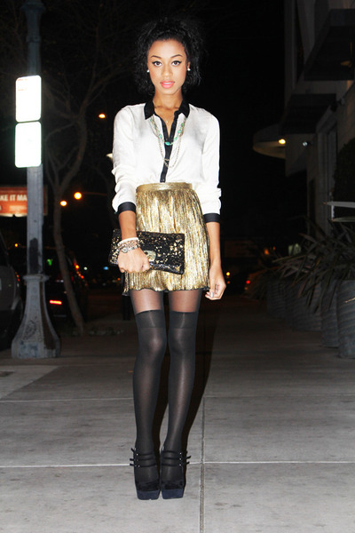 black Armani Exchange clutch bag - black heels - gold f21 skirt