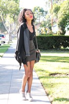 black cardigan - army green skirt - black bag - silver shoes