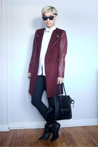 maroon Zara coat - black Margiela for H&M boots