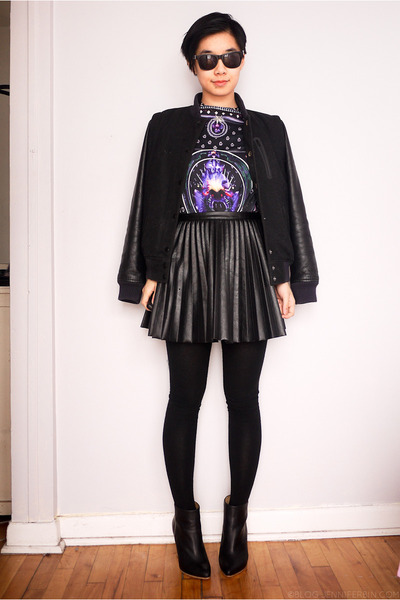 black nike jacket - black H&M boots - black H&M skirt