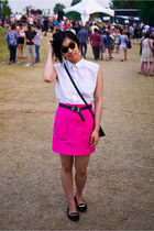 black thrifted bag - black thrifted belt - white altered blouse - hot pink Zara