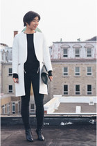 white Zara coat - black Cheap Monday jeans - black American Apparel bag