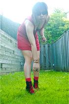 red Forever21 dress - red Forever21 socks - black Ebay sunglasses - black gmarke