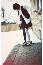 black Suzy Shier vest - white thrift blouse - black Primavera dress - black Ebay