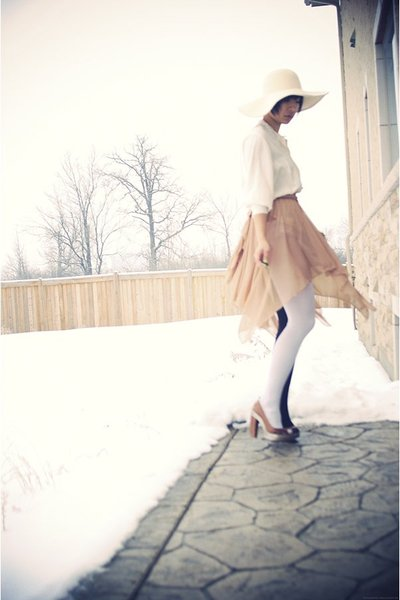 beige Smartset hat - beige vintage dress - white Ebay tights - white vintage blo