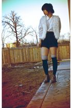 white Forever21 vest - white vintage shirt - black thrifted shorts - black socks