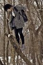 Forever21-coat-beige-shirt-black-leggings-gray-skirt-black-socks-gray-