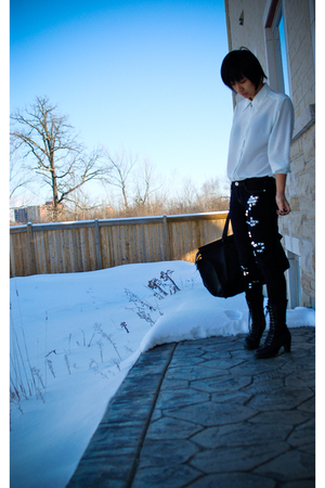 white vintage shirt - black DIY studded jeans - black purse - black Forever21 bo