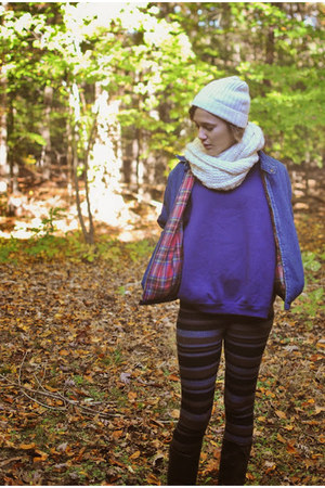 scarf - boots - hat - jacket - leggings - sweatshirt