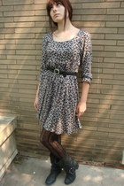 TJ Max boots - thrifted dress - thrifted vintage belt