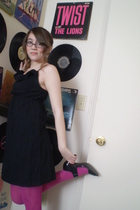black Old Navy dress - black George shoes - pink Aerie tights