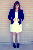 navy military jacket - black asos boots - white asos dress - silver H&M necklace