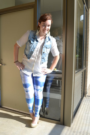 neutral Target pumps - sky blue Black Milk Clothing leggings - cream H&M blouse
