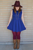 maroon Forever 21 hat - tawny Aldo boots - blue Forever 21 dress