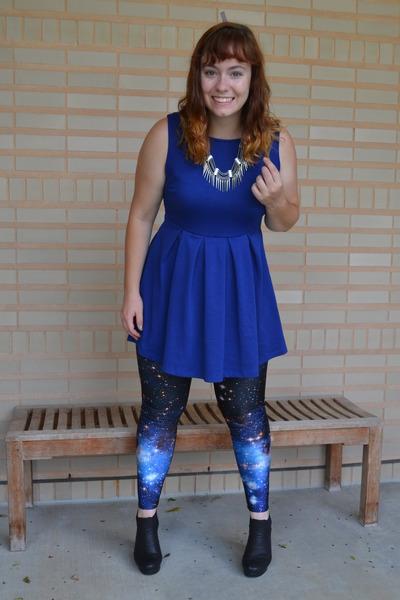 Navy blue dress black boots