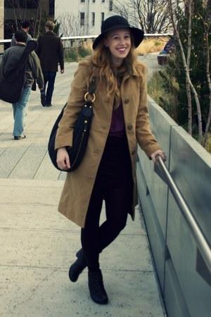 camel Target coat - black Target boots - black H&M skirt