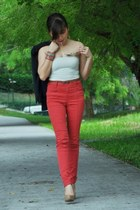 red Pull and Bear jeans - navy Mango blazer - tan nude pumps Aldo pumps