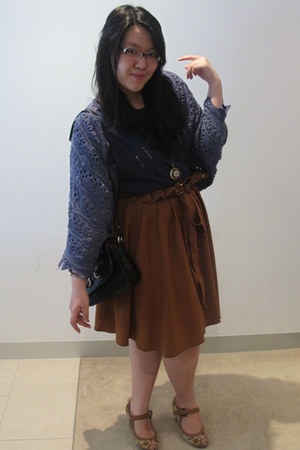 brown flared DIY skirt - knitted Valley Girl sweater - knitted Gaudi blouse