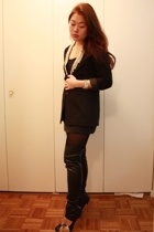 DIY H&M blazer - H&M intimate - see by chlo skirt - Zara boots
