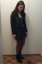 forever 21 jacket - Chlo top - Chlo skirt - American Apparel tights - Bakers boo