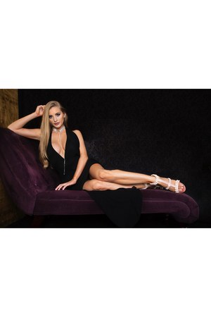 black AmiClubWear dress - pink AmiClubWear heels - silver AmiClubWear necklace